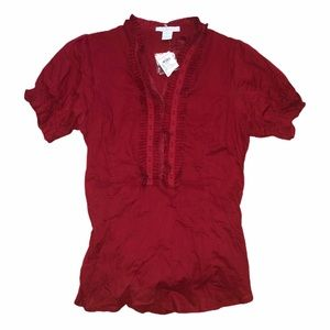 CHARLOTTE RUSSE Red Ruffle Top Large
